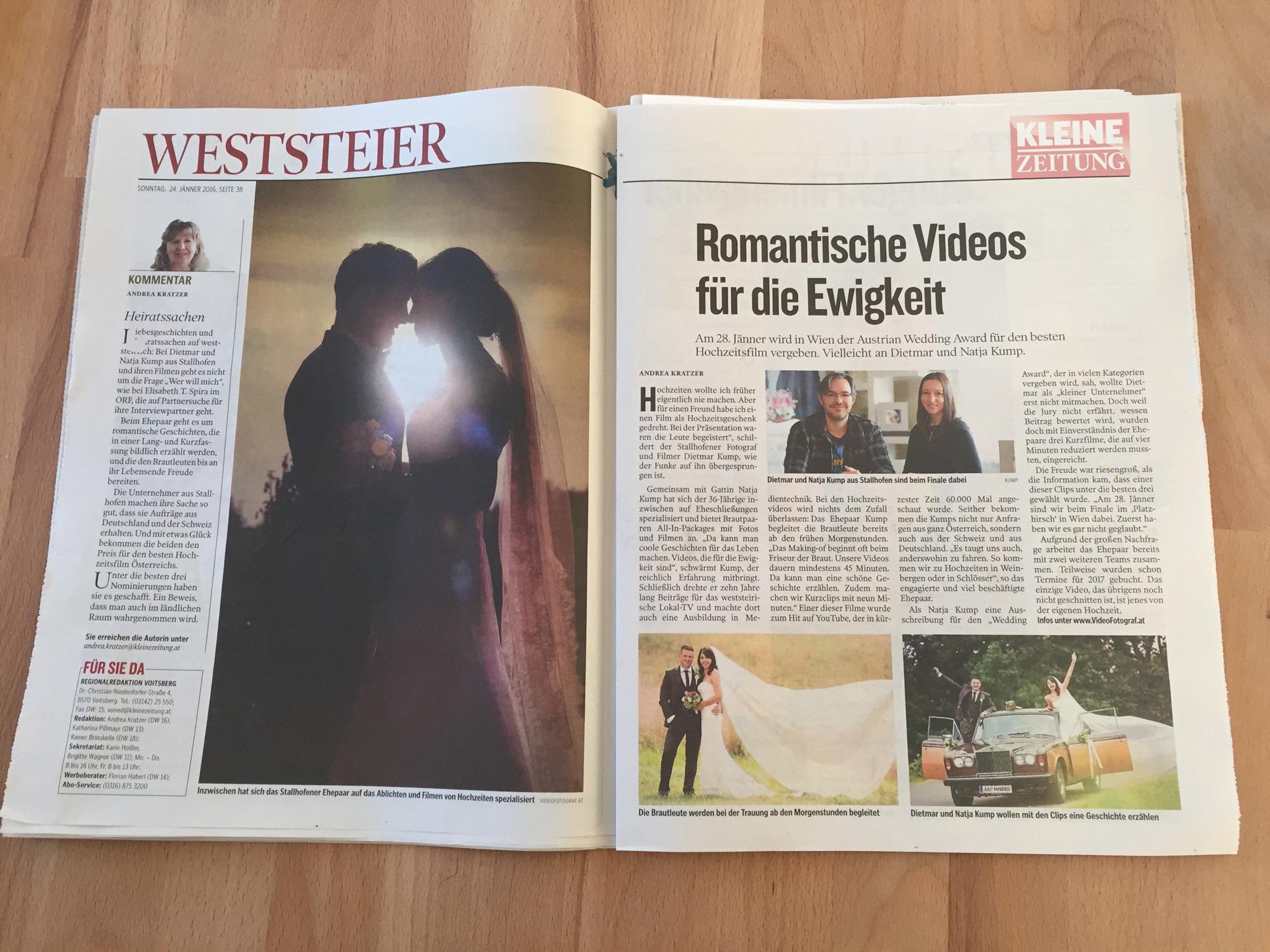Kleine Zeitung - Kump Videofotograf Kump.PhotographyHochzeitsfilm Dietmar Kump